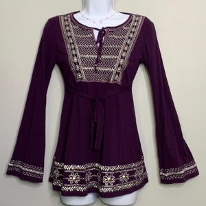 INC Purple Silver Embroidered Top Petite A3 0123